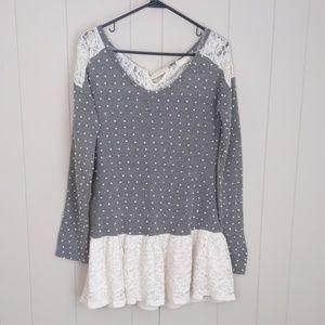 A'reve Gray Polka Dot Lace Tunic Sweater